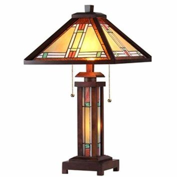 "Aaron Tiffany-Style 3 Light Mission Double Lit Wooden Table Lamp 15"" Shade"