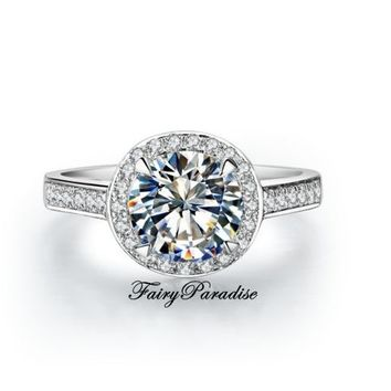 1.5 Ct Deco Halo Engagement Rings / Silver Promise Ring, Round Cut Man Made Diamond,  Free gift box - made to order (Fairy Paradise)