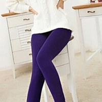 Dark Purple Faux Velvet Thick Knitted Winter Warm Slim Legging Pants