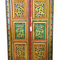 indian jaipur Armoire-Hand-Painted Floral Cabinet  (Jodhpur Vintage Furniture)