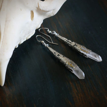 sceptre // filigree crystal point earrings