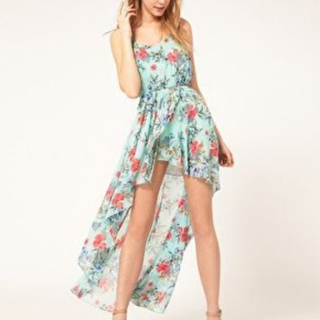 Love | Love Chiffon Oriental Floral Print Dip Hem Dress at ASOS