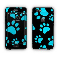 The Black & Turquoise Paw Print Apple iPhone 6 Plus LifeProof Nuud Case Skin Set