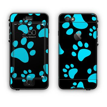 The Black & Turquoise Paw Print Apple iPhone 6 LifeProof Nuud Case Skin Set