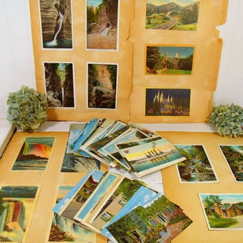Antique Post Cards Collection of 130+ Pieces - Vintage PostCards Spanning 70 Years - Linen, Glossy Photo, Lithochrome, MirroKrome, ColorTone