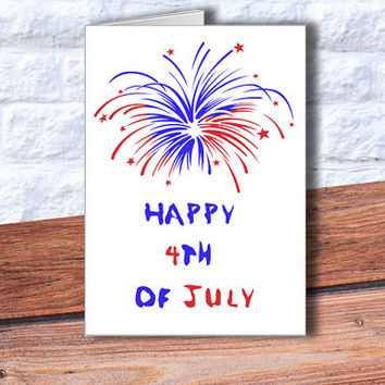 4th of July Greeting Card, Instant Download, fireworks, Patriotic Card, Red, White, Blue, Printable Card, Independence Day print, DIY, USA