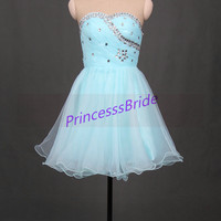 2014 short sky blue crysta yarn homecoming dresses,chic cute prom dress with rhinestones,cheap gowns for holiday party hot.
