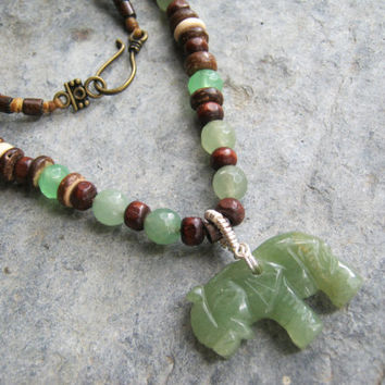 Jade Elephant Necklace, Tribal Beaded Necklace, Coconut & Wood Necklace, Totem Animal Jewelry, Mens Womens Necklace, Elephant Jewelry