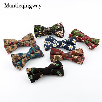 Vintage Floral Bow Ties For Men Wedding Party Accessories Fashion Casual Skinny Blue Printed Bow Tie Neck Ties Gift