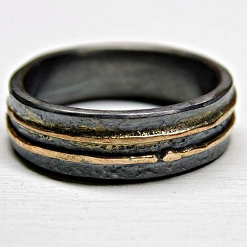 mens wedding ring oxidized silver gold, rustic mens ring, viking wedding ring molten, unique commitment ring, contemporary wedding band