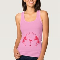 Pink flamingo tropical summer and palm trees Aloha Tank Top