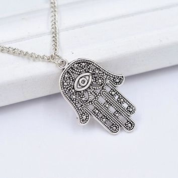 10Pcs Fashion Jewelry Vintage Silver Turkish Hamsa Hand Of Fatima Evil Eye Charms Pendant&Necklace Sweater Chain Free