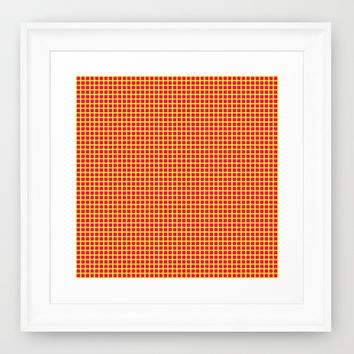 Yellow On Pink Grid Framed Art Print by Moonshine Paradise | Society6