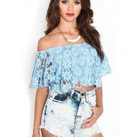 Sky Blue Lace Crop Top