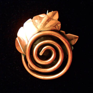 Copper Modernist REBAJES Brooch,, Leaf Spiral, Signed Vintage