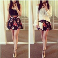 Floral Print High Waisted Skater Skirt