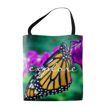 """Explore"" orange monarch butterfly photo tote bag"