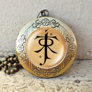 LOTR pendant Lord of the Rings jewelry Elf symbol vintage pendant locket necklace - ready for gifting
