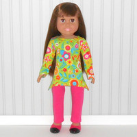 18 inch Girl Doll Green Tee Shirt with Flowers and Hot Pink Leggings American Doll Clothes