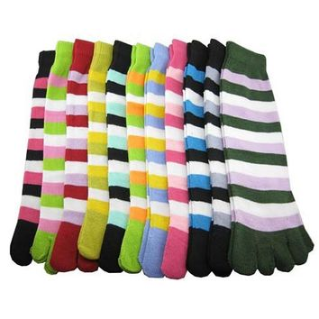 Fashion Bright Candy Colors New Design Women's Socks Stripe Solid Pattern Quality Autumn Winter Warm 5 Toes Sock Free Shipping
