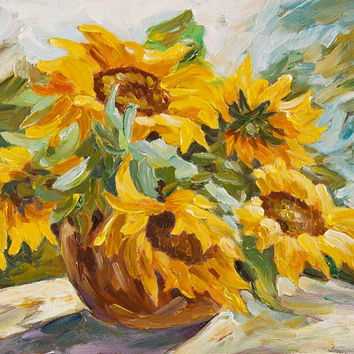 Still Life of Sunflower in Vase Original Oil Painting Miniature on Canvas Wall Art 8x10
