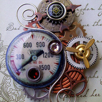 Steampunk Brooch A40  Industrial Gauge and Meter  Gears by Friston