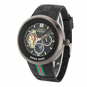 Perfect GUCCI Woman Men Simple Stripe Quartz Watches Wrist Watch