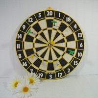 Vintage Two Sided Wooden Dart Board Plus 6 Darts - Retro GameRoom Equipment - Colorful Man Cave Wall Hanging Decor - Bulls Eye Reverse Side