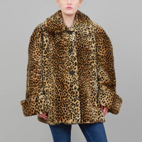 90s Coat Leopard Coat Faux Fur Coat Retro Swing Coat Vintage Cheetah Animal Print Oversize Jacket Large L