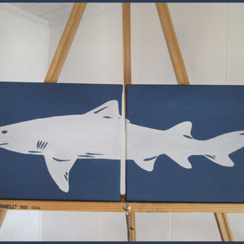 Shark Handpainted Paintings Set Wall Decor Art for Nursery, Kids, Nautical, Coastal Room - You customize!