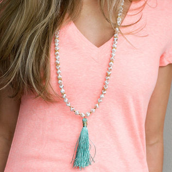 Long Tassel Necklace, Beaded Tassel Necklace, Boho Tassel Necklace, Turquoise Tassel Necklace, Gold Tassel, White Tassel Necklace