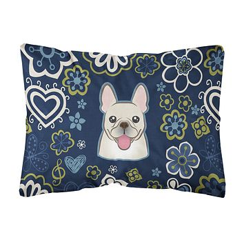 Blue Flowers French Bulldog Canvas Fabric Decorative Pillow BB5089PW1216