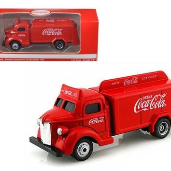 1947 Coca Cola Delivery Bottle Truck Red 1-87 Diecast Model by Motorcity Classics
