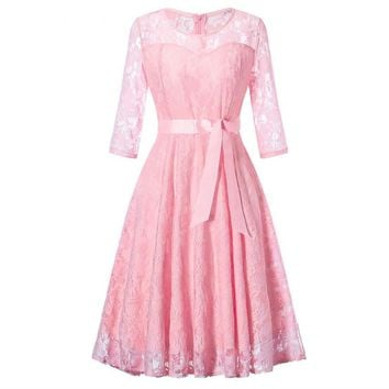 Middle sleeve O-Neck short pink lace Bow Bridesmaid Dresses wedding party dress prom gown women's fashion