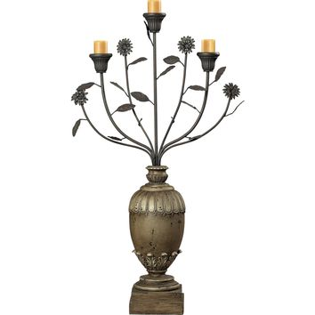 Floral Display Style Candle Holder Halifax Grey