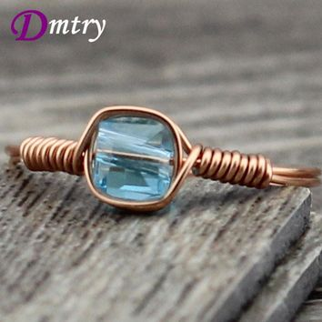 DR0074 New Items Designer Discount Female Lover Jewelry Lake Blue Crystal Water Drop Wedding Rings For Women Gift Free Shipping