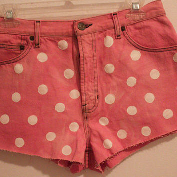 $37.00 Polka dot pink high waisted shorts by StayyGold on Etsy