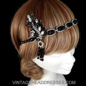 Black Great Gatsby Headband - Black Gatsby Headpiece - Vintage 1920's Art Deco Black Flapper Headpiece - Event - Wedding - Flapper Party