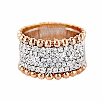 1.25ct Invisible Set Diamonds in 14K 2Tone Gold Bubble Edge Pipe Cigar Band Ring