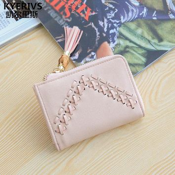 KYERIVS Fashion Brand PU Leather Slim Womens Wallets and Purses ID Card Holder Coin Purse Zipper Small Women Purse Wallet