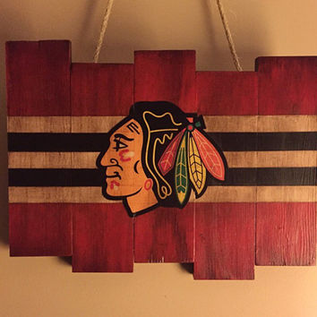 Chicago Blackhawks Small Wooden Stained Flag; Handpainted; Chicago Flag; Hockey Decor; Mancave; Wood Sign; Wood Wall Art; NHL; Boyfriend