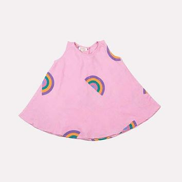 AKSHU & ING Block Printed Rainbow Dress - Baby Pink