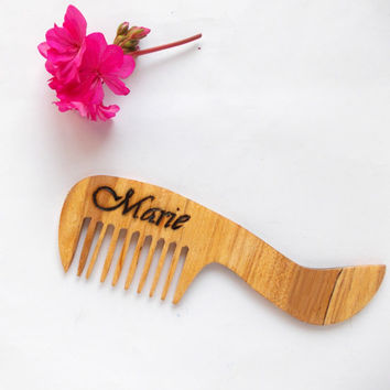 Personalized Wood Comb Customized Wooden Hair Comb Handmade Engraved Natural wood Hair Accessory Wide Tooth Comb Hair Care Gift for Her