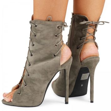 Melina Stiletto Lace Up Ankle Boots in Khaki Faux Suede