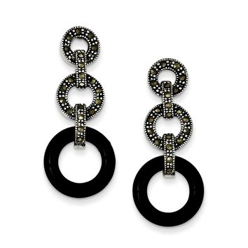 Sterling Silver Onyx & Marcasite Circles Post Earrings