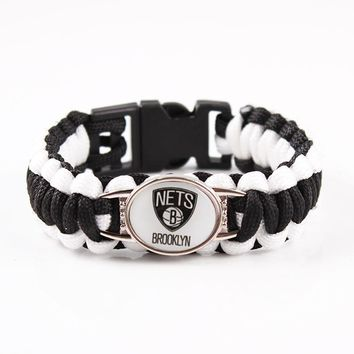 Mix 19 Color Can Choose Brooklyn Nets Basketball Team LOGO Charms Paracord Bracelet Outdoor Survival Bangle