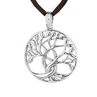 The Cross Trees in Oval Shape Filigree 925 Sterling Silver Pendant Necklace
