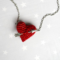 Necklace crochet red heart and arrow.Love necklace for Christmas.