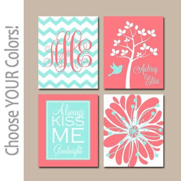 CORAL AQUA Nursery Wall Art, CANVAS or Prints, Girl Nursery Decor, Girl Monogram Art, Kiss Me Goodnight, Set of 4