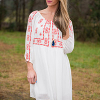 Festive Embroidery Dress, Off White
